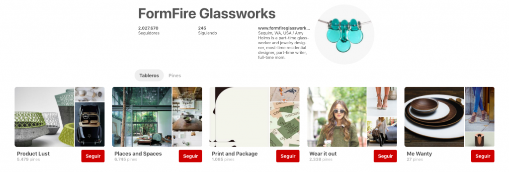 formfire glassworks is a business doing well on pinterest