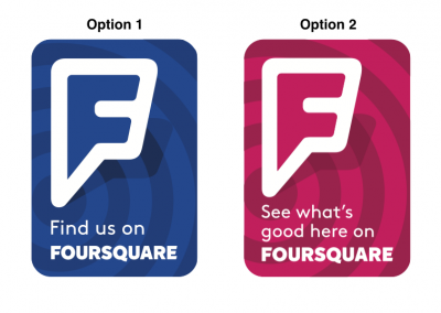 Foursquare Window Cling Options