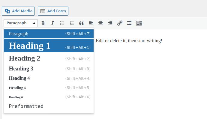 H1 Tags SEO: Classic Editor in WordPress