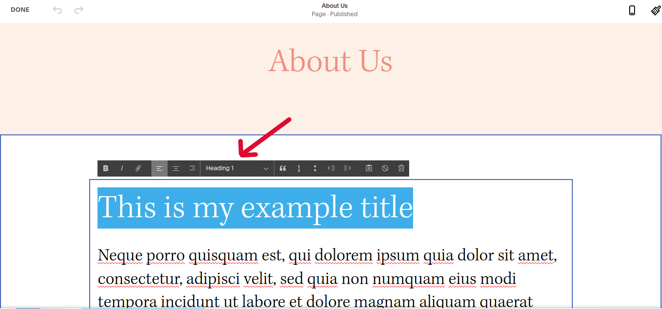 H1 Tags SEO: h1 tags in Squarespace - example