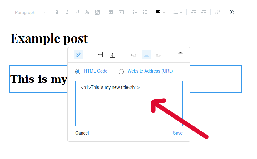 H1 Tags SEO: h1 tags in Wix - example