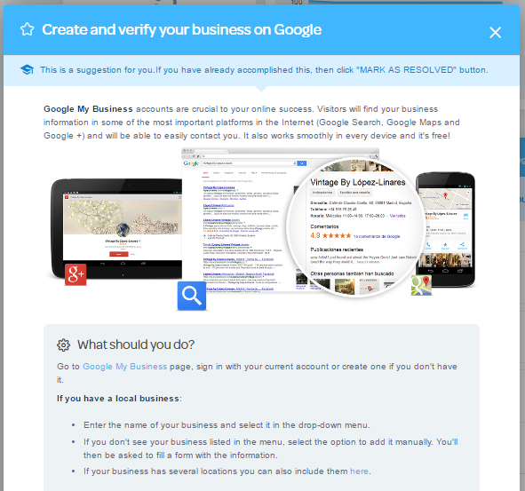 google my business task on marketgoo