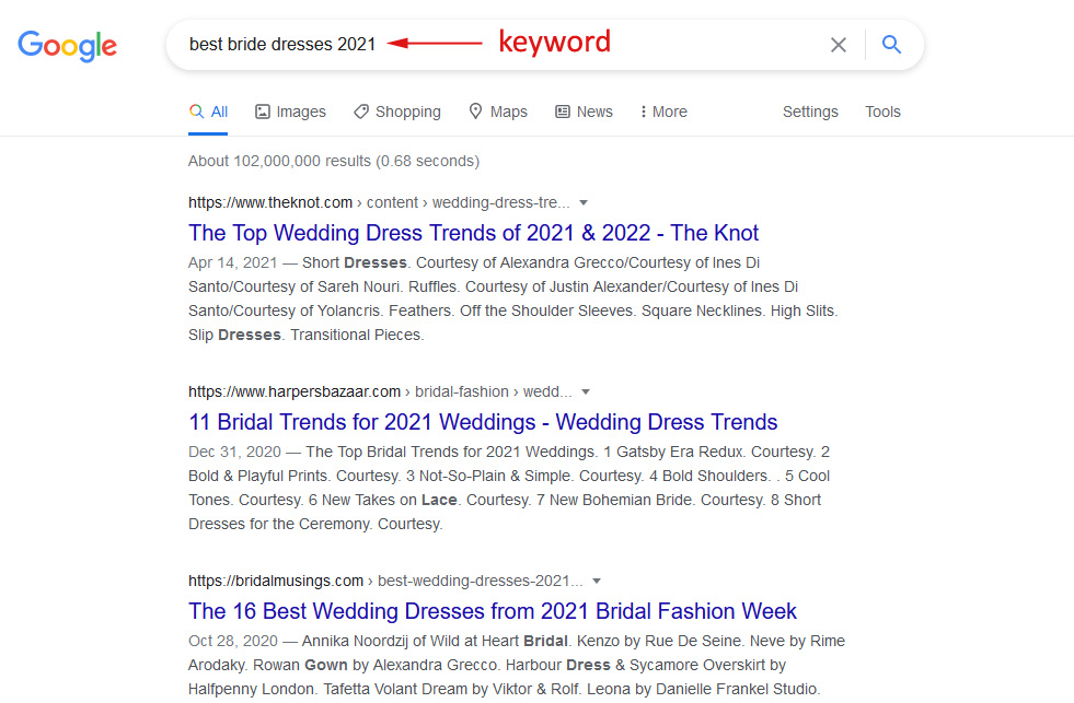 how to choose SEO keywords: example of middle-tail keyword search in Google