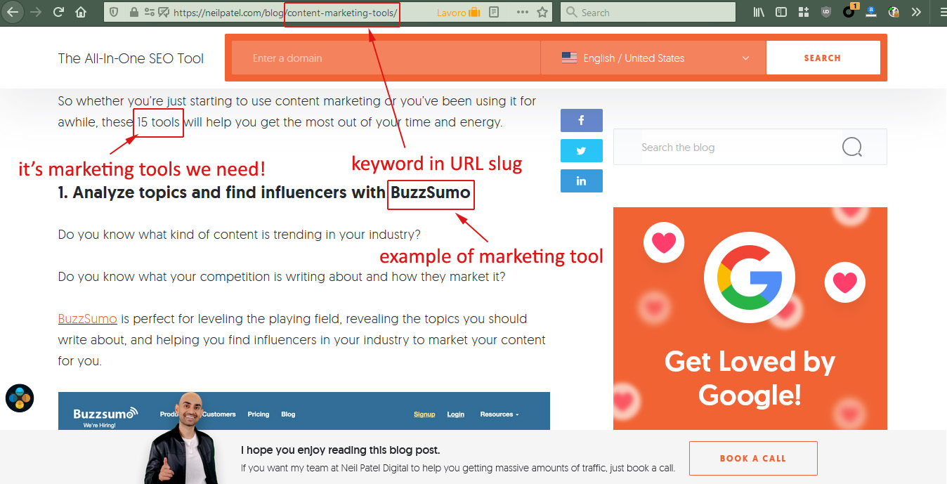 how to choose SEO keywords: example of analysis of Neil Patel's blog