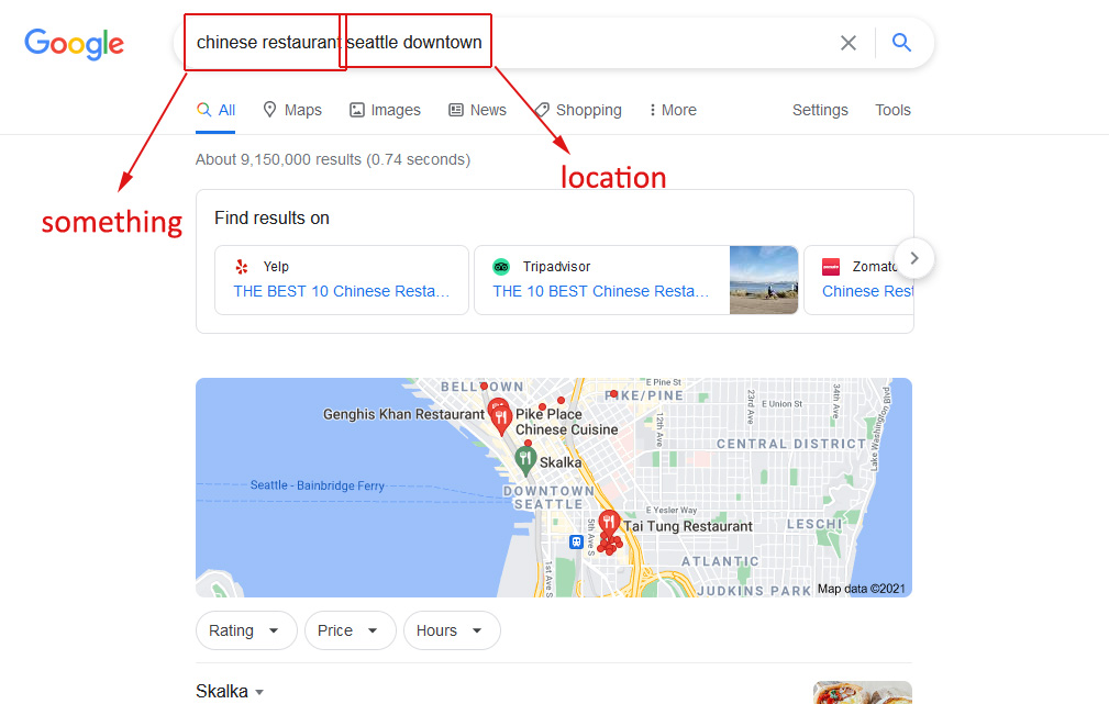 how to choose SEO keywords: example of localized search in Google