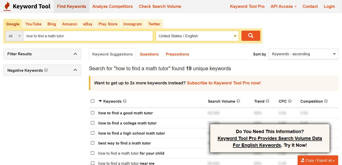 how to choose SEO keywords: use KeywordTool.io