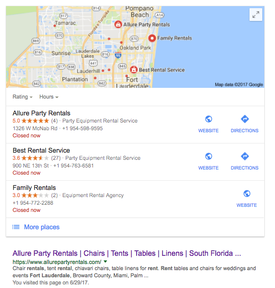 party rentals local seo