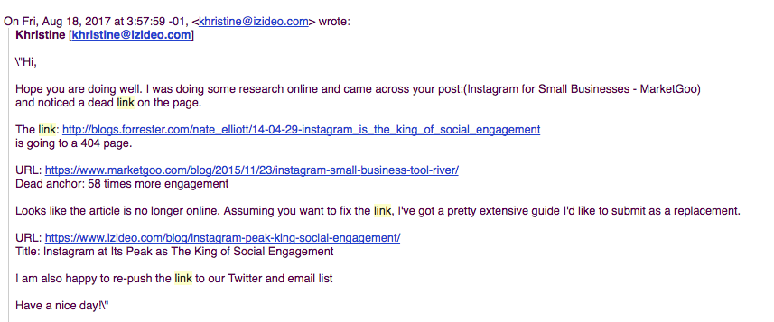 example email link building