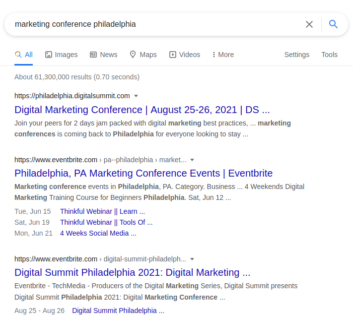 """Links in SEO: Example """"marketing conference philadelphia"""" SERPs"""