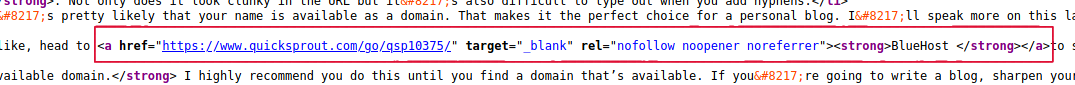 Links in SEO: Example of nofollow HTML code