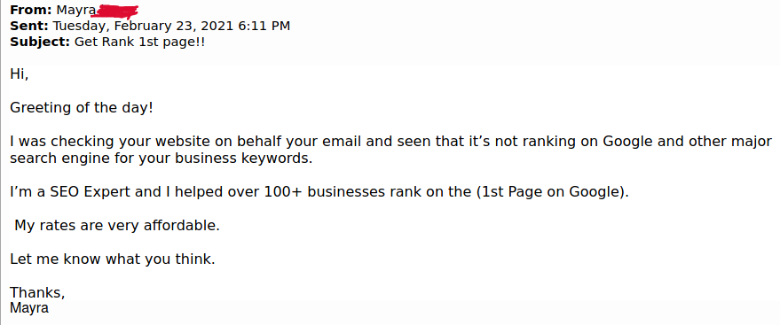 Links in SEO: Example of spammy email