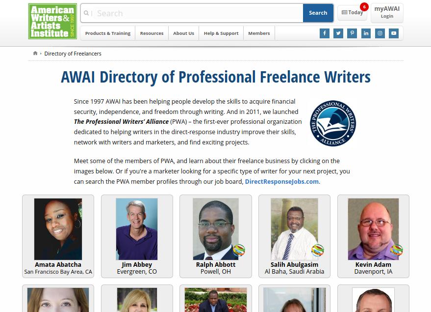 Links in SEO: Example AWAI directory