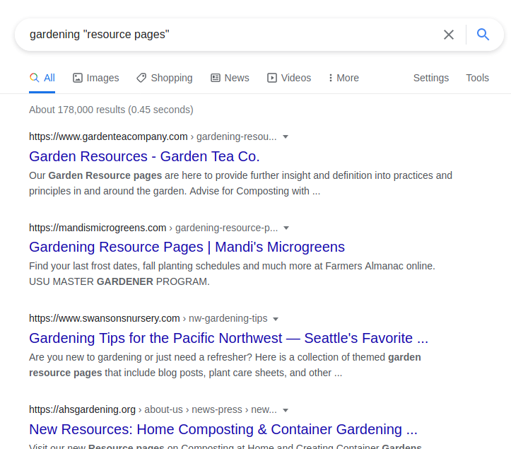 Links in SEO: Gardening resource pages example SERPs