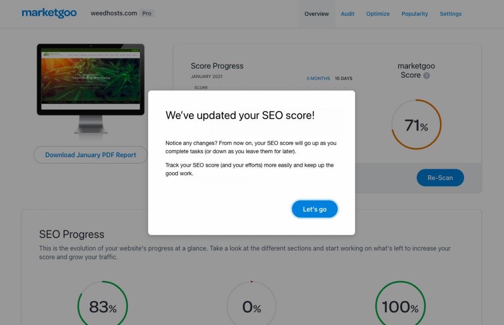 score update in marketgoo